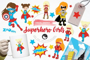 Superhero girls illustration pack