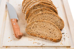Slices of grain and seed bread