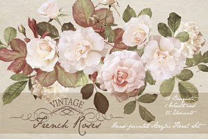 Vintage French Roses - Acrylic Paint