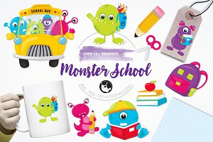 Monster school illustration pack