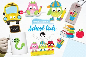 School owls illustration pack
