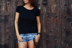 Young woman wearing black t-shirt