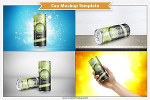 Narrow Can Mockup Template