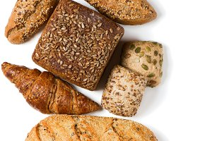 Assorted breads, view from above