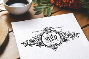 Baroque Ornament Wedding Monogram