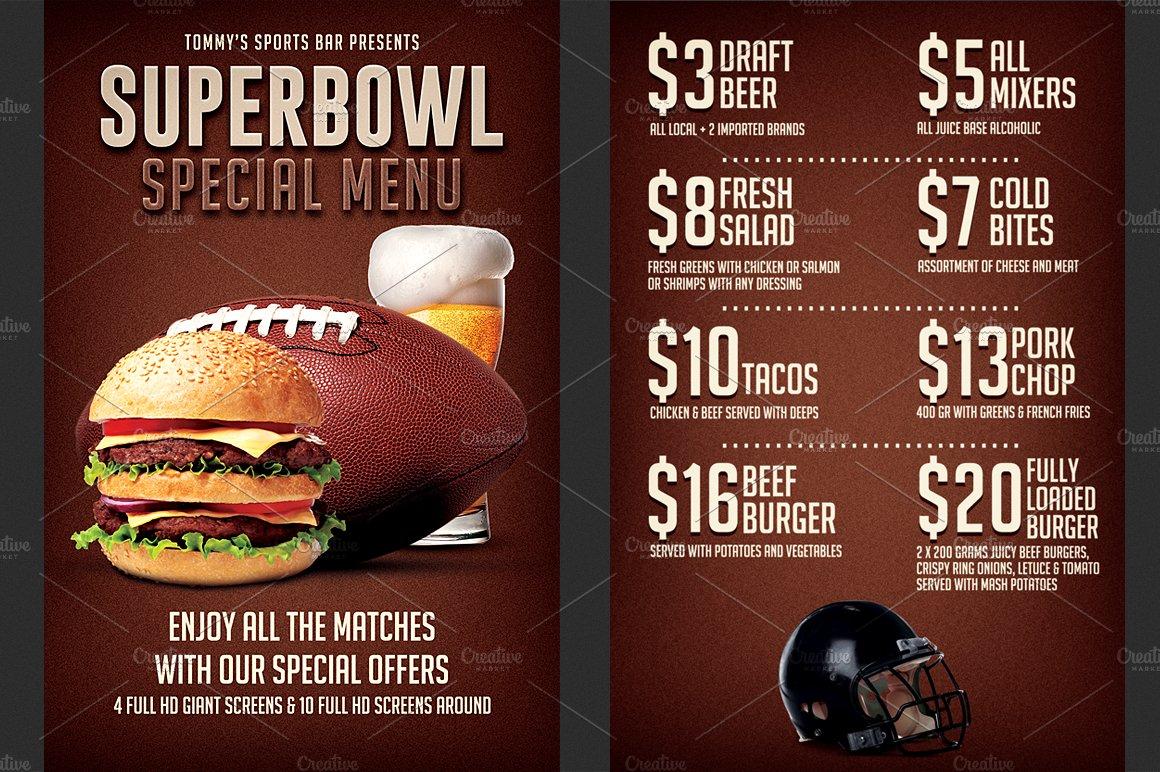 football super bowl food menu flyer ~ flyer templates ~ creative market