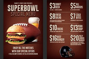 Football Super Bowl Food Menu Flyer