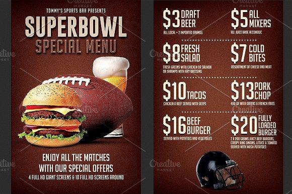 football super bowl food menu flyer flyer templates creative market