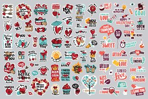 Set of Love Signs and Stickers