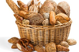 Fresh bread in a basket