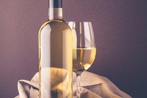 Wine bottle with white wine