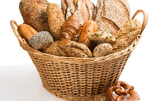 Variety of breadin a basket.