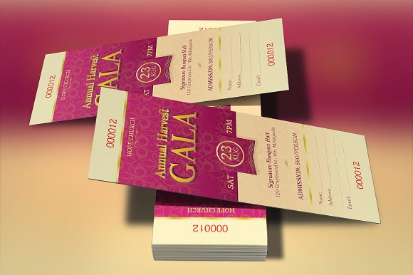 church gala ticket template templates creative market