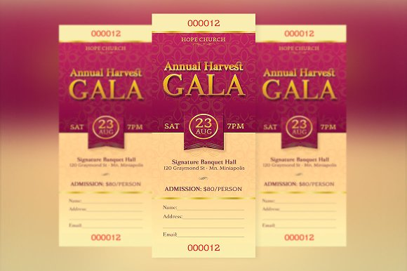 Church Gala Ticket Template Templates on Creative Market – Banquet Ticket Template