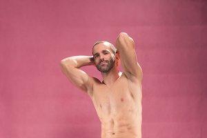 man adult posing shirtless abs pink