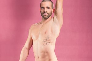 arm extended man shirtless abs pink