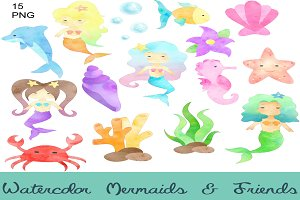 Mermaids & Friends Clip Art