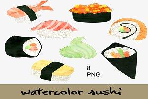 Watercolor Sushi Clip Art