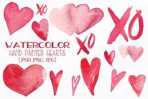Watercolor Valentine Hearts and XOs
