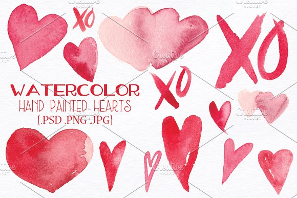 Watercolor Valentine Hearts and XOs ~ Illustrations ~ Creative Market