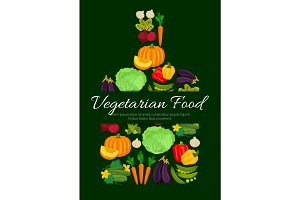Vegetarian vegetables harvest vector poster