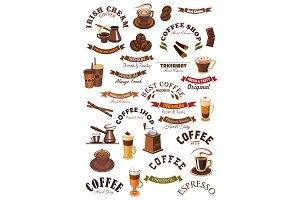 Coffee shop vector emblems, ribbons set