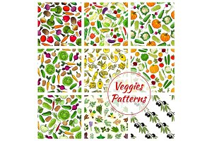 Veggies, spices, herbs vegetables patterns set
