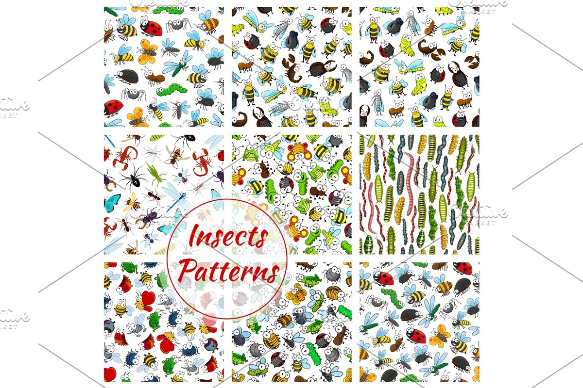 Cartoon insects and bugs seamless pattern