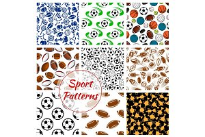 Sport balls, fitness items seamless patterns set