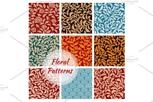 Floral decoration ornament seamless patterns set