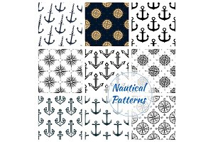 Nautical heraldic navy seamless patterns set