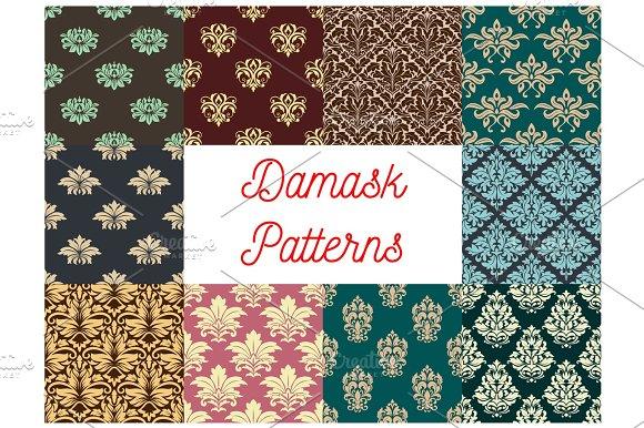 Damask flowery ornate seamless patterns set