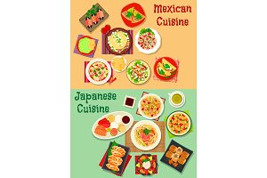 Mexican and japanese cuisine dinner icon
