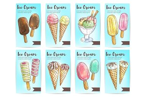 Ice cream menu dessert sketch banner set