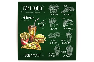 Fast food menu chalk sketch on blackboard