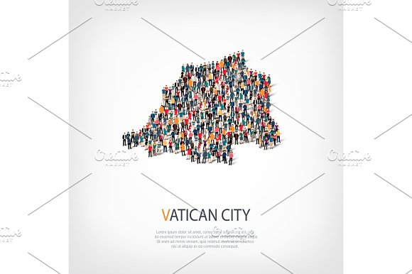 People Map Country Vatican City Vector