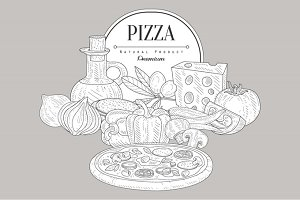 Pizza Ingredients Vintage Sketch