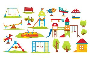 Children Playground Vector Illustration