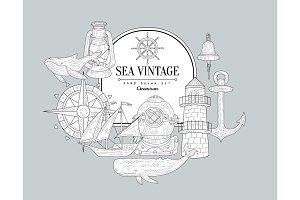 Sea Themed Vintage Sketch