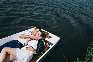 love in a boat on the water