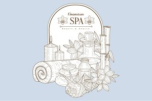 Vintage Sketch With Spa Treatments