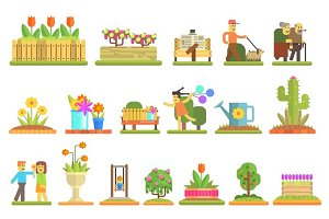 Spring and Flowers. Flat Vector Illustration Set