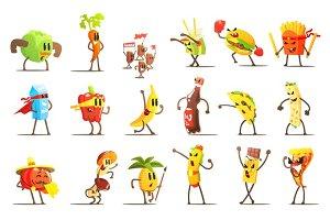 Fast Food and Healthy Food Cartoon Characters Set