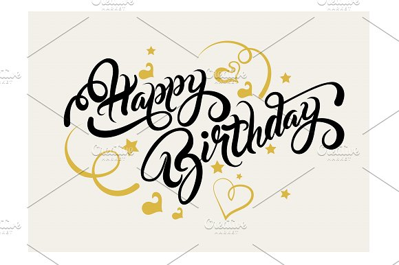 Happy Birthday Lettering Design Script Fonts Creative Market