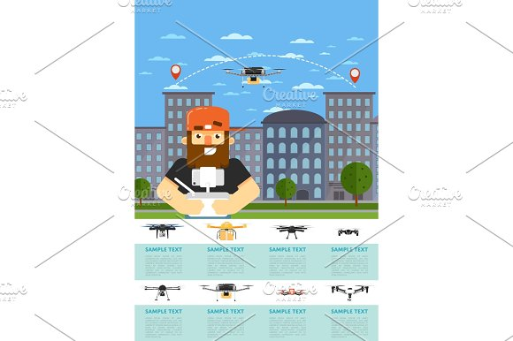 drone aircraft website template with flying robot. Black Bedroom Furniture Sets. Home Design Ideas