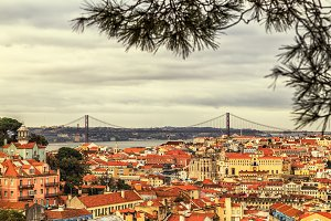 view of the Alfama downtown, Lisbon