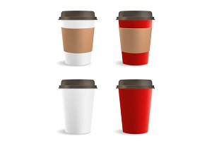 Red and White Paper Coffee Cup Set