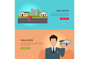 Set of Real Estate Vector Conceptual Web Banners.