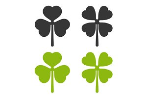 Clover Leaf Icons Set