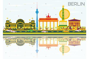 Berlin Skyline with Color Buildings